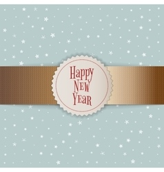Happy New Year white Emblem on golden Ribbon vector image