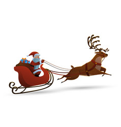 happy santa claus riding a vector image