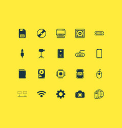 Hardware icons set collection of cd-rom cpu vector