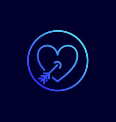 heart pierced with arrow icon vector image
