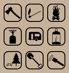 Hiking icons set 2 vector image
