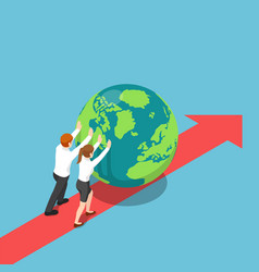 isometric business people push world forward vector image