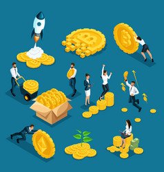 isometrics icons investors speculators with ico vector image