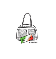 italy travel sign milan city shopping label shop vector image