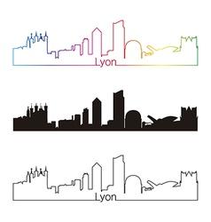 Lyon skyline linear style with rainbow vector