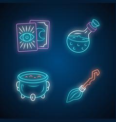 Magic neon light icons set tarot cards potion vector