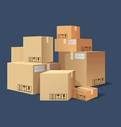 many cartonsboxes of different size pile of vector image