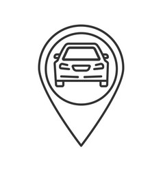 map pinpoint with car inside linear icon vector image