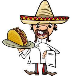 mexican chef with taco cartoon vector image vector image