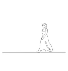 Muslim hijab strong woman walking continuous one vector