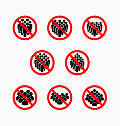 No crowd people icon do not crowd prohibit vector