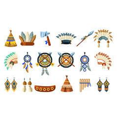 north american indians culture set vector image