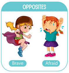 Opposite words with brave and afraid vector
