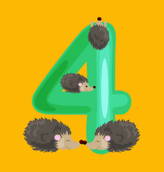 Ordinal number 4 for teaching children counting vector