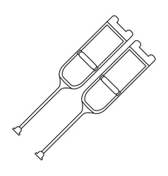 Pair of crutches icon vector