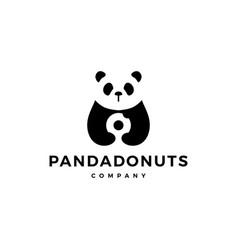 panda donuts logo icon vector image