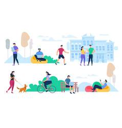 people performing summer city outdoor activities vector image