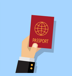 Person getting a passport vector