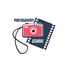 Photography school sign with photo camera vector