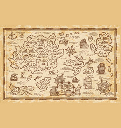 pirate treasure map sketch with sea islands ship vector image