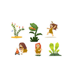 Primitive cave people set cute geometric vector