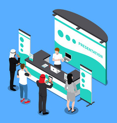 promotion stand isometric composition vector image