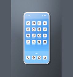 realistic smartphone mobile application icons vector image