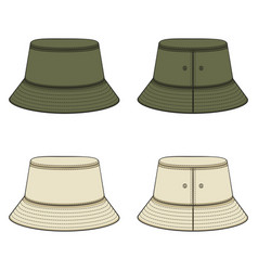 Set color with khaki panama hat vector