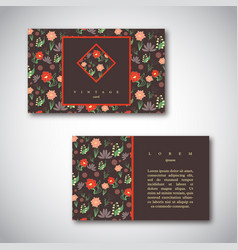 set of business cards with floral pattern vector image
