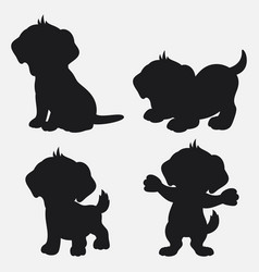 set of dog silhouettes cartoon with different pose vector image