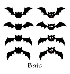 set of scary halloween bats vector image