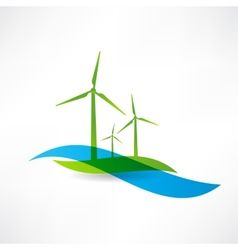 Set of wind turbines icon vector