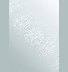 Silver round floral pattern gradient color vector