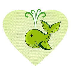 Sketch style green whale love concept vector image