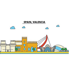 spain valencia city skyline architecture vector image