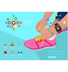 sport woman hand tying shoelaces wearing vector image