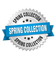 spring collection 3d silver badge with blue ribbon vector image