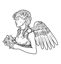 stylised angel woman vector image
