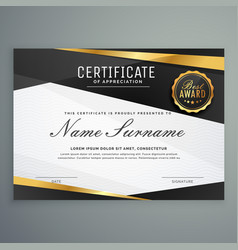 Stylish certificate appreciation award vector