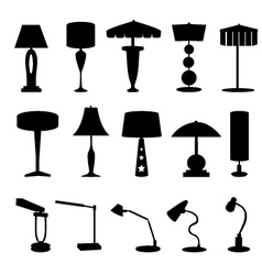 Stylish Lamp Silhouette set vector