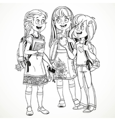 Three cute schoolgirl with a schoolbag socialize vector