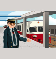 Train conductor vector