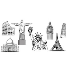 Travel destinations-liberty statue big ben vector