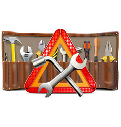 triangle sign with spanners and tools vector image