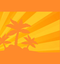 Tropical landscape palm under clean orange vector