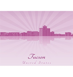 Tucson skyline in purple radiant orchid vector image