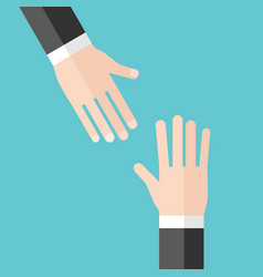 two hands help concept vector image