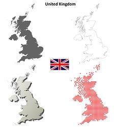 United Kingdom outline map set vector image