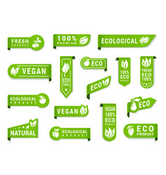 vegan green label set organic and raw vegetables vector image
