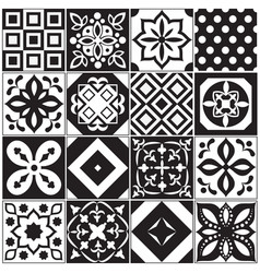 Vintage black and white traditional ceramic floor vector